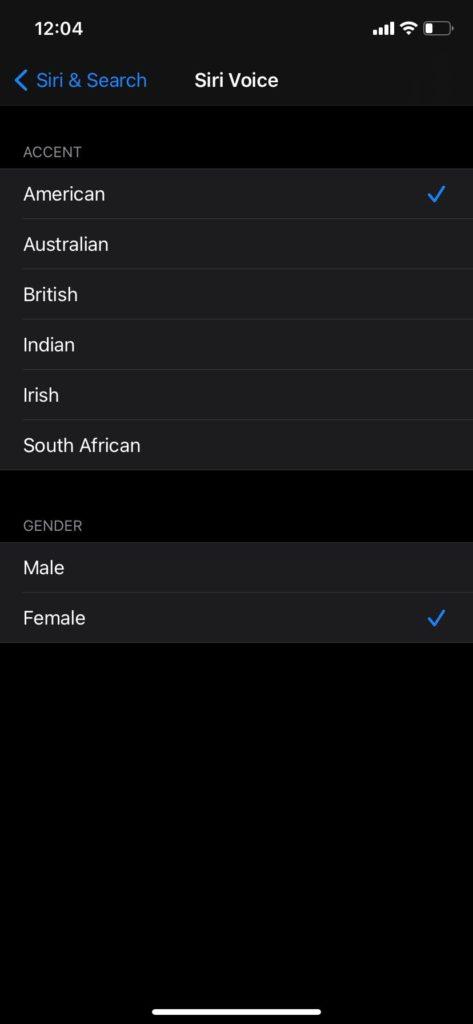 change Siri voice