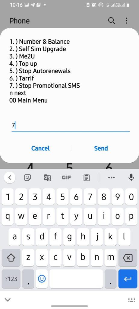 select option 7 stop promotional messafes
