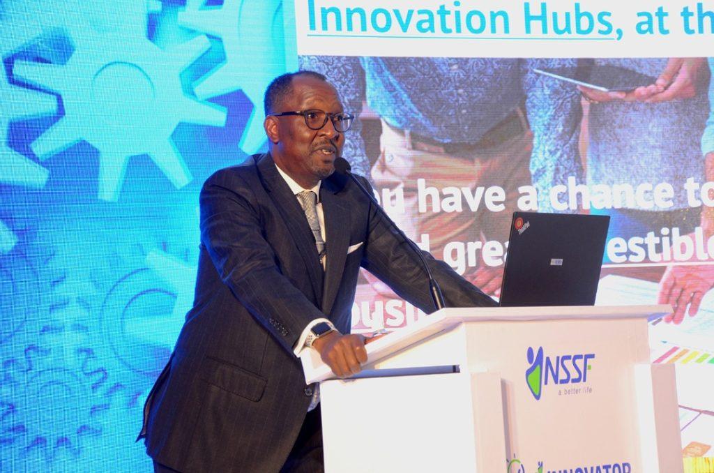 NSSF Managing Director Richard Byarugaba during the launch of Hi-iinnovators.