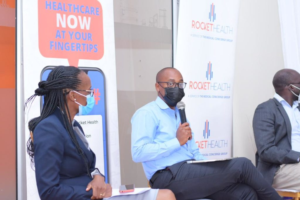 Rocket Health MD Davis Musunguzi During the launch of the USSD code