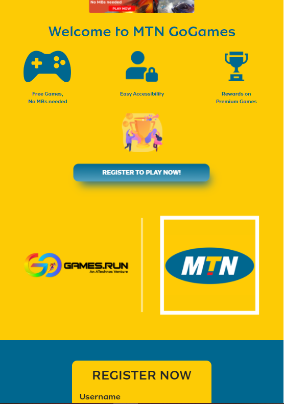 MTN GoGames landing page