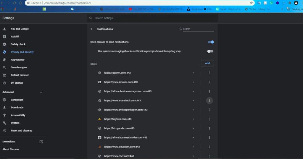Block notification request on Google Chrome