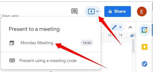 Present Google Doc to Online Meeting