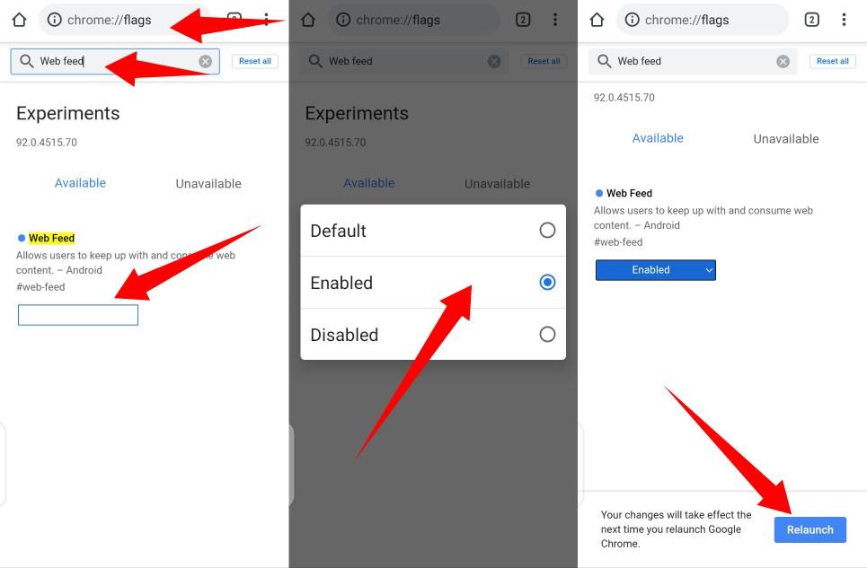 Turn on Chrome's Web feed