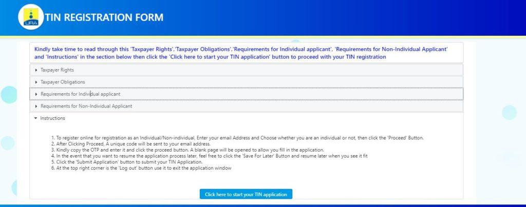 URA TIN application