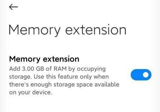 MIUI 13 Memory Extension