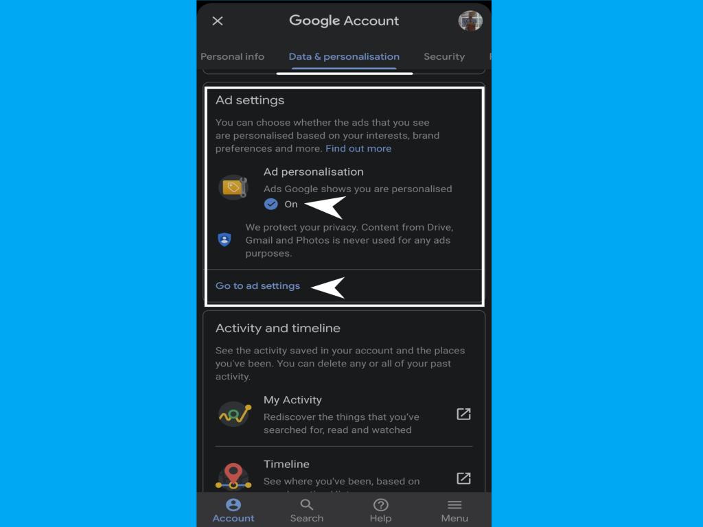Entering Google ad personilisation settings on smartphone
