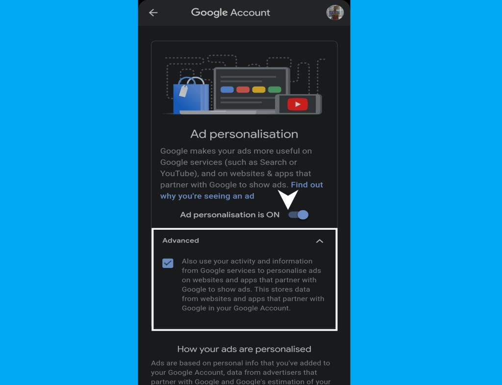 turning off Google ad personilisation on smartphone