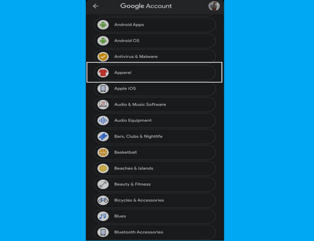 Google ad personilisation profile