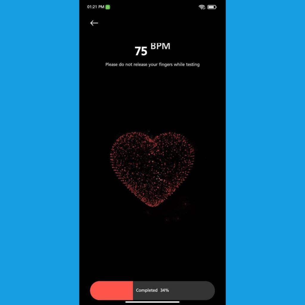 xiaomi health heart rate measure in progress