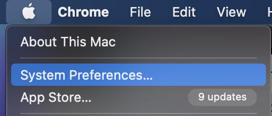 System preferences MacBook