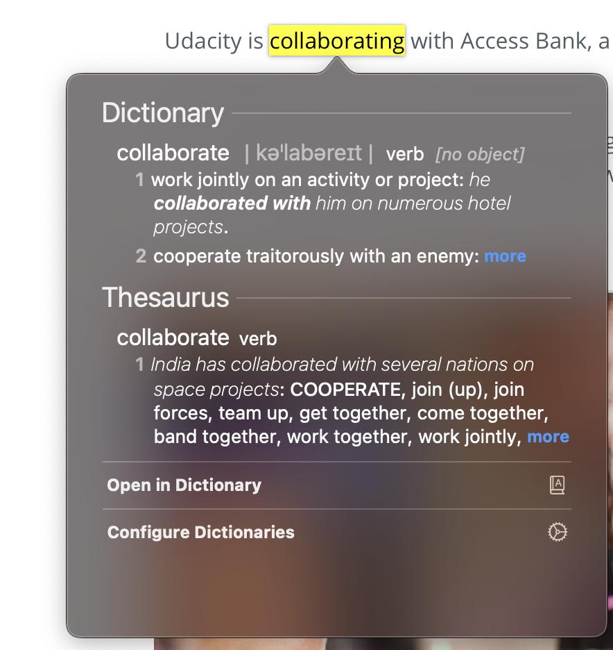 MacBook dictionary