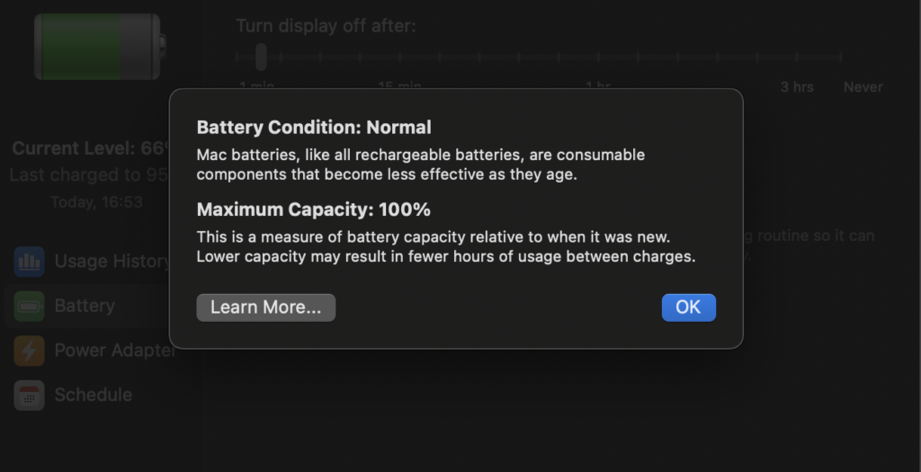 check battery capacity MacBook