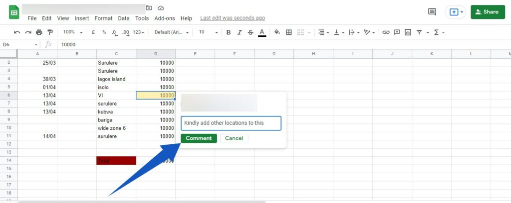 Comments in Google Sheets