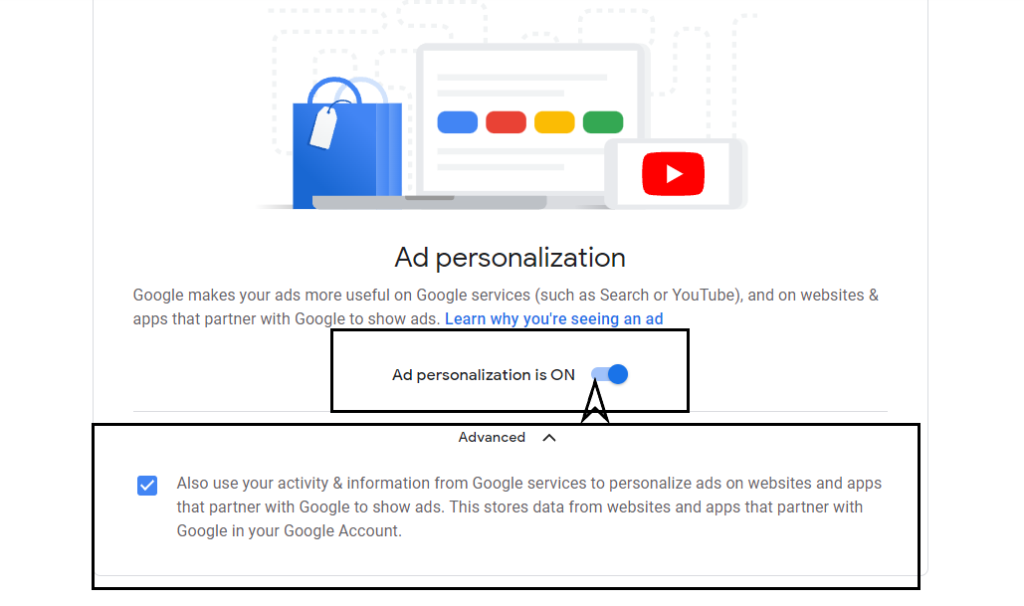 Turning off ad personalisation
