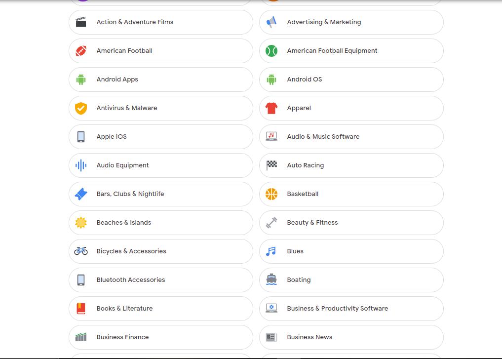 Google ad personalisation profile on the web