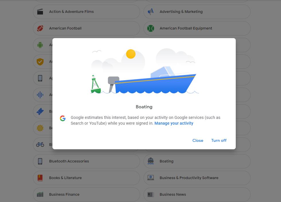 removing interet in Google ad personilsation profile