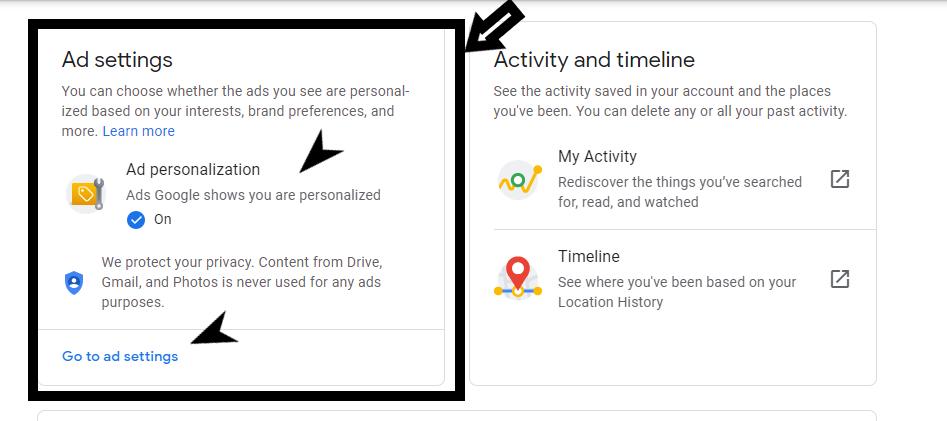 Entering Google Ad settings
