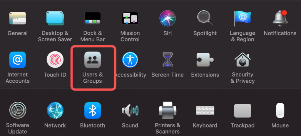 users and groups macbook