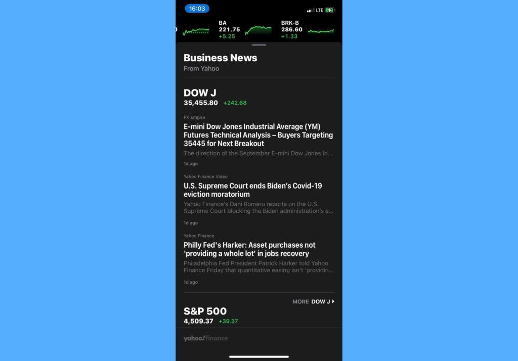 iPhone stocks app business news