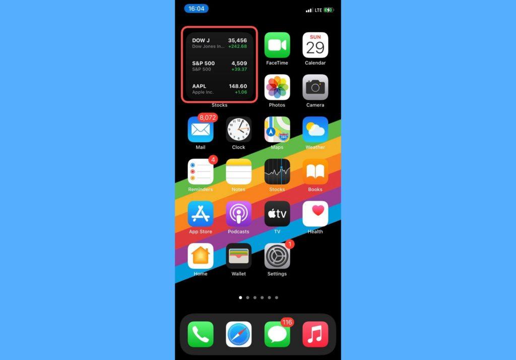 iPhone stocks app shortcuts