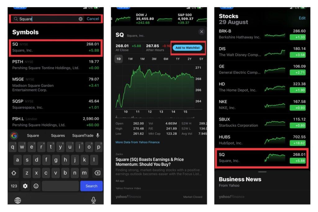 iPhone stocks app watchlist