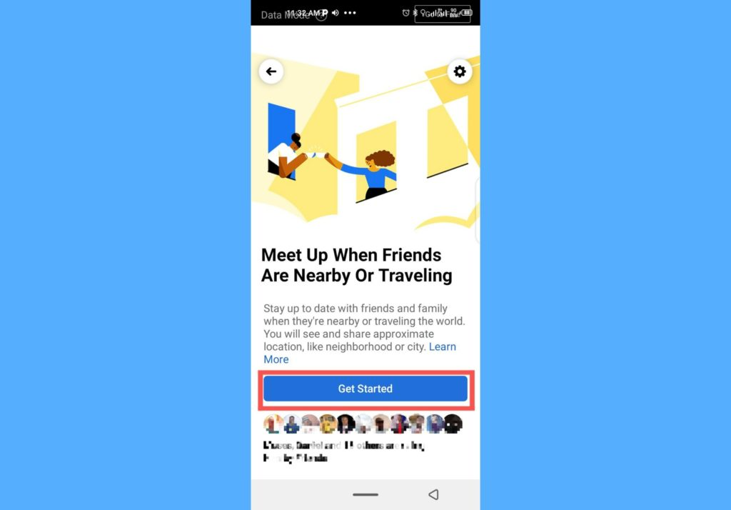 get started with nearby friends