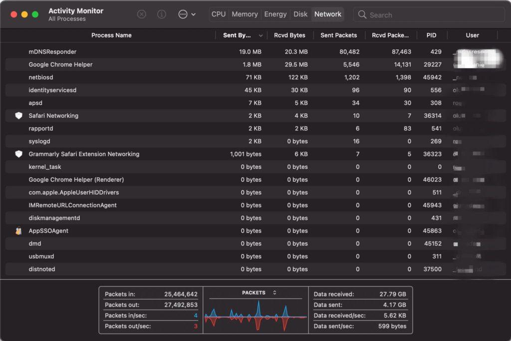 Network tab - Activity monitor MacBook