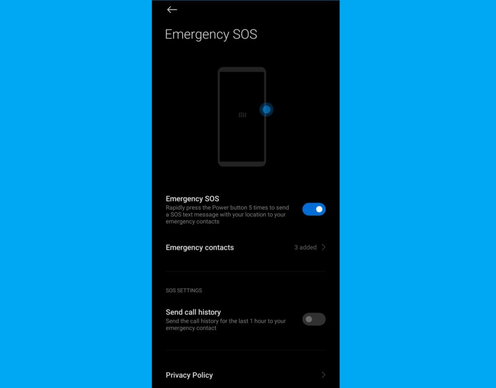 Android emergency contact info - Xiaomi / Redmi / Poco / Blackshark