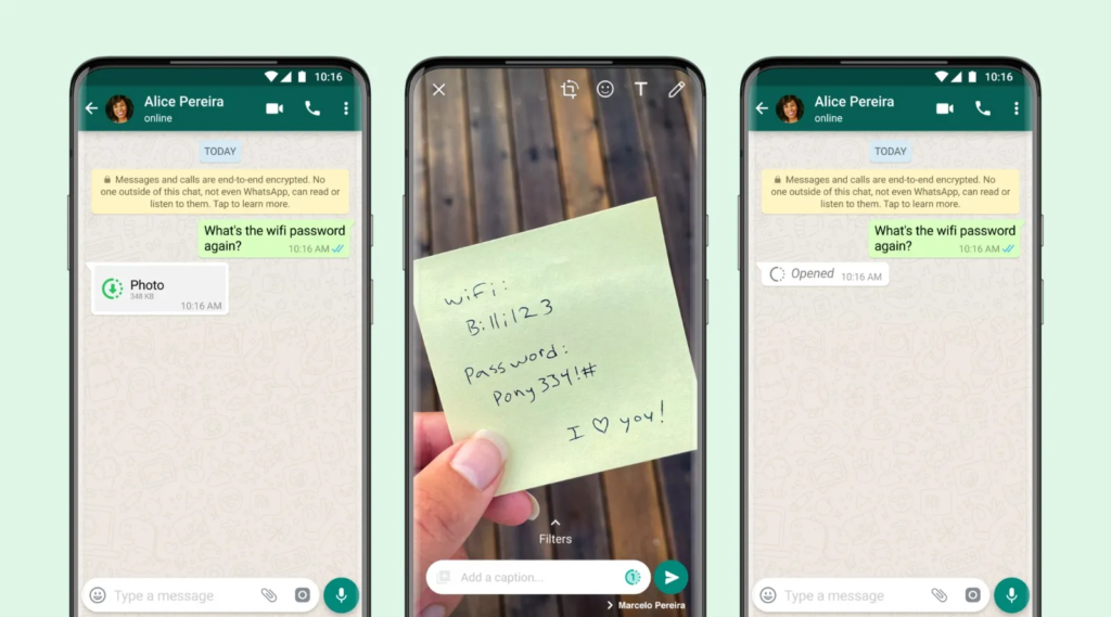 send disappearing photos and videos whatsapp