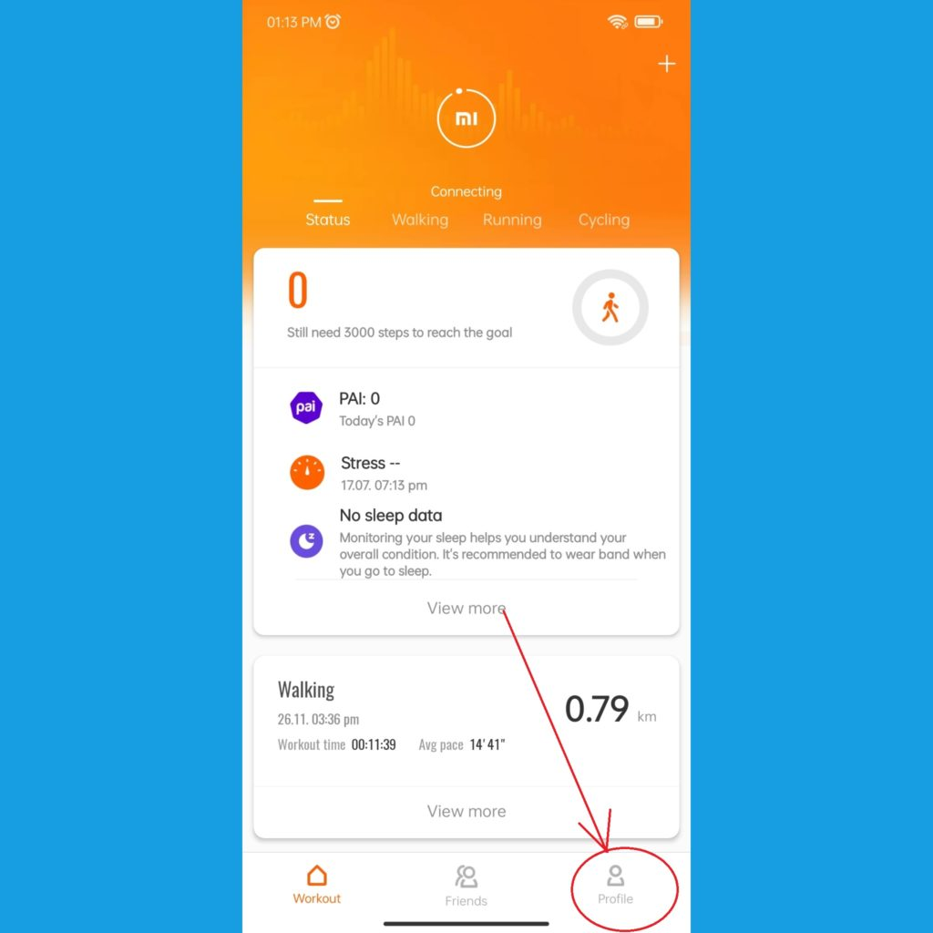 Mi Fit app select Profile Tab