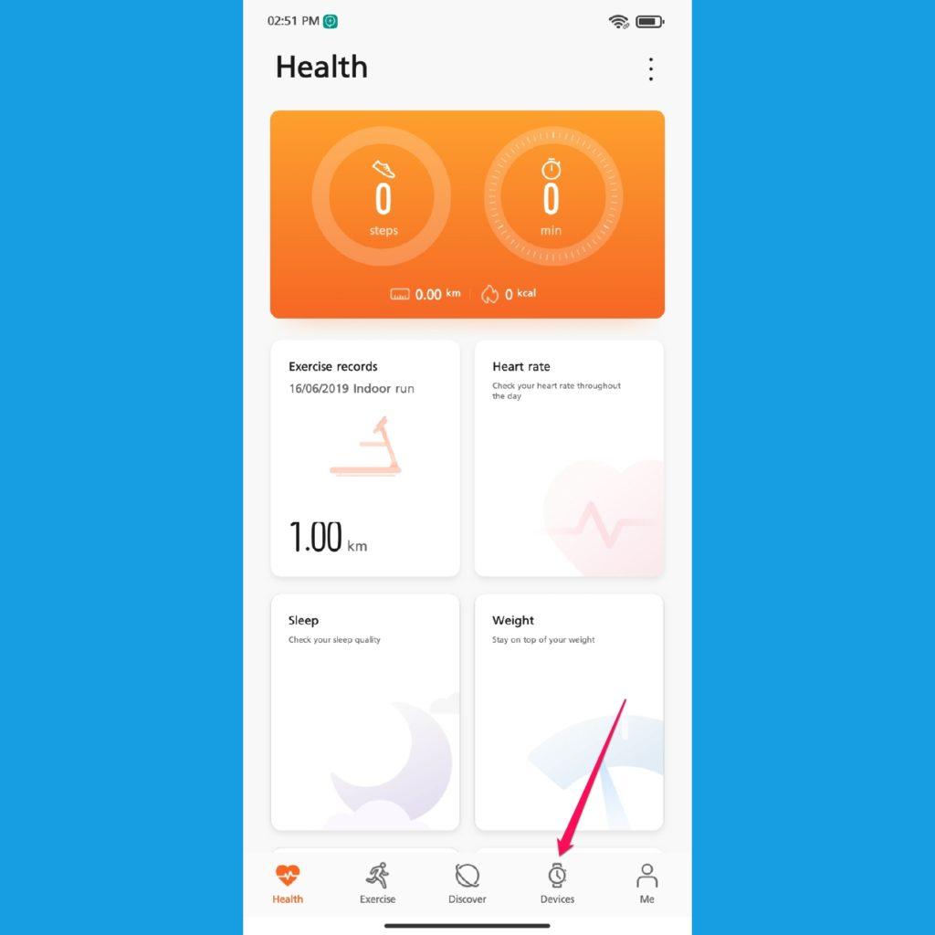 Huawei Health app home screen
