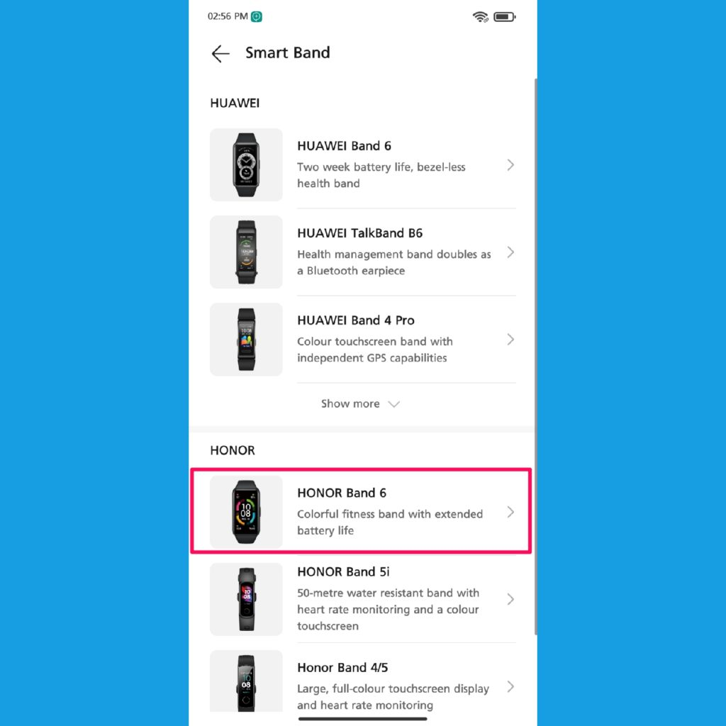 Huawei health app add Honor Band 6