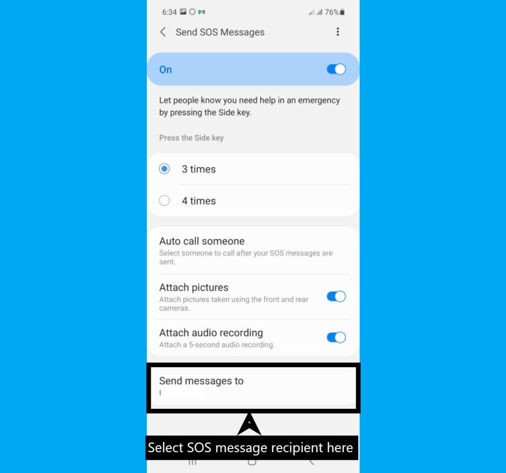How to set SOS message on Samsung