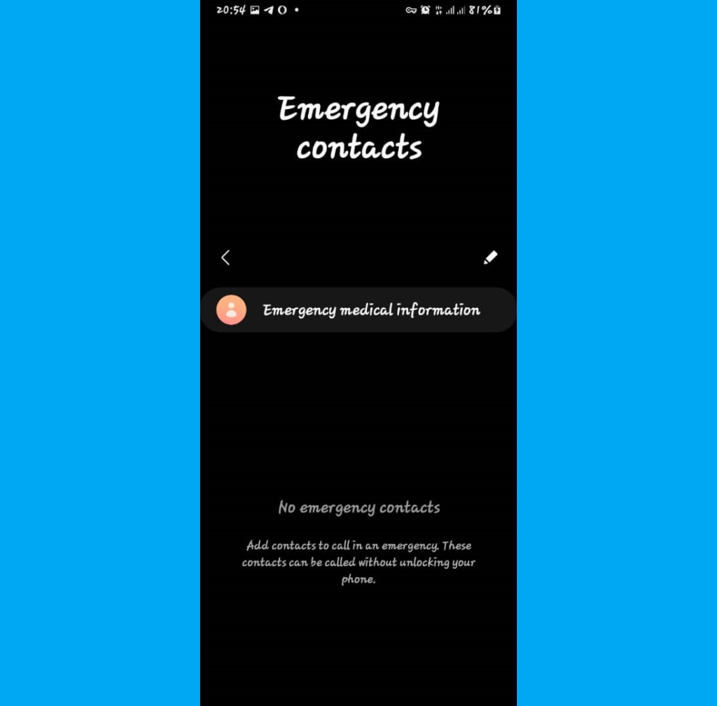 Android emergency contact info - Samsung