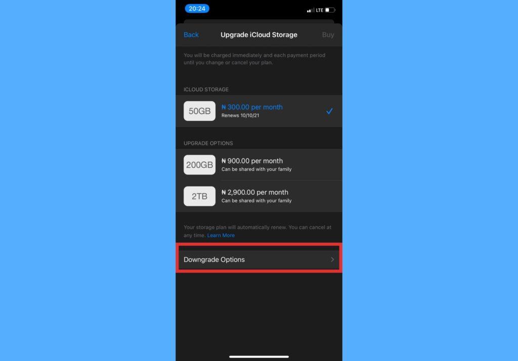 download cancel icloud storage plan iphone