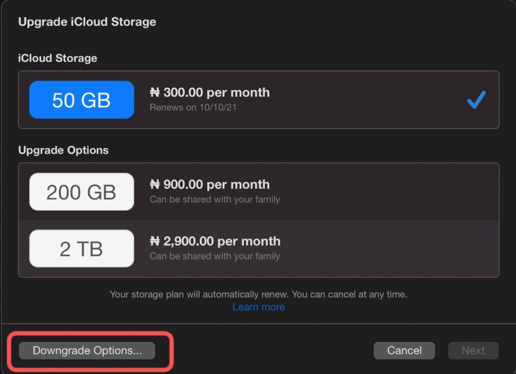 download cancel icloud storage plan mac