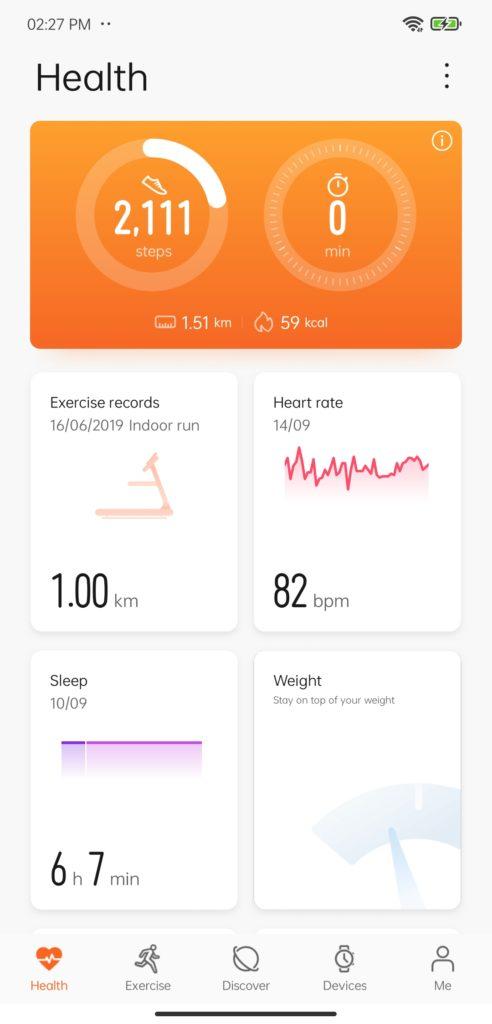 huawei health app home page