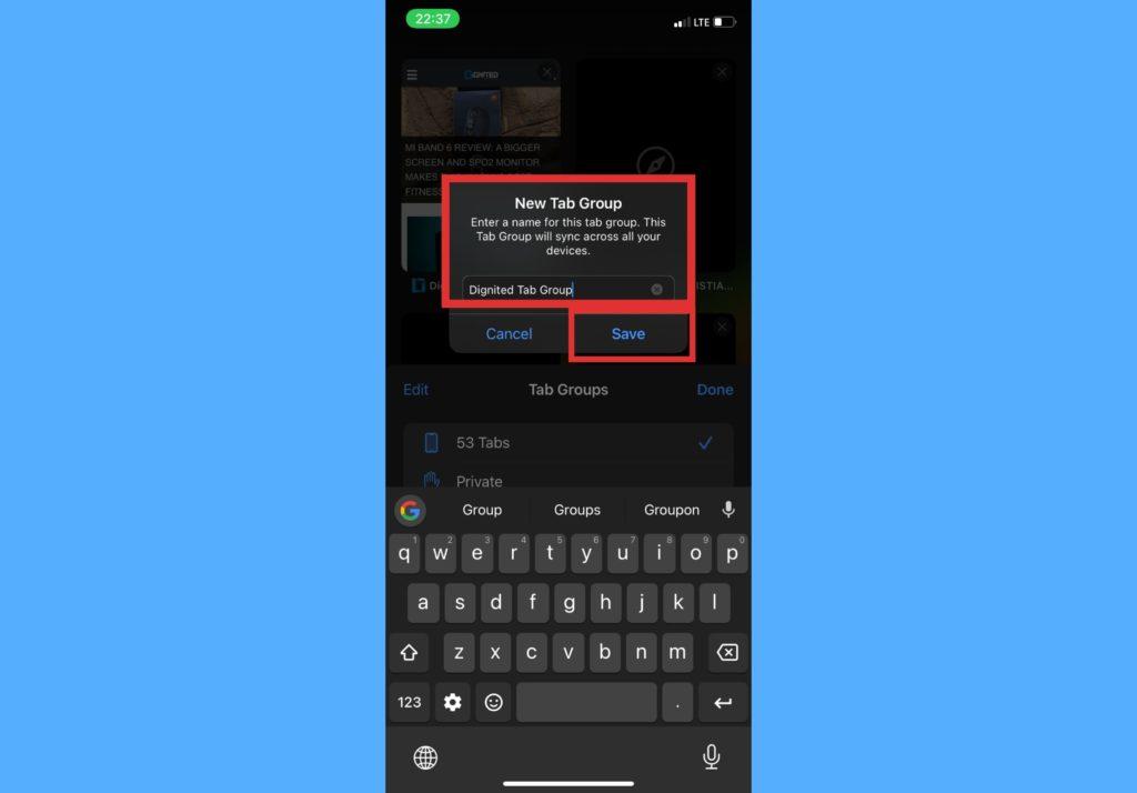 create tab group iphone safari