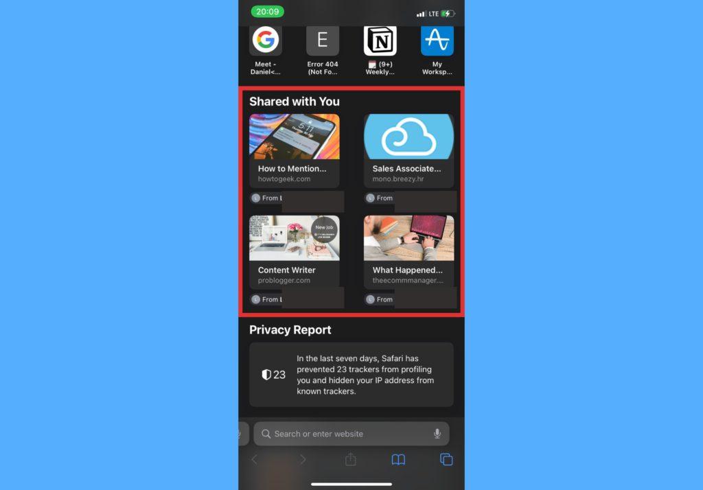 shared with you tab iphone safari browser