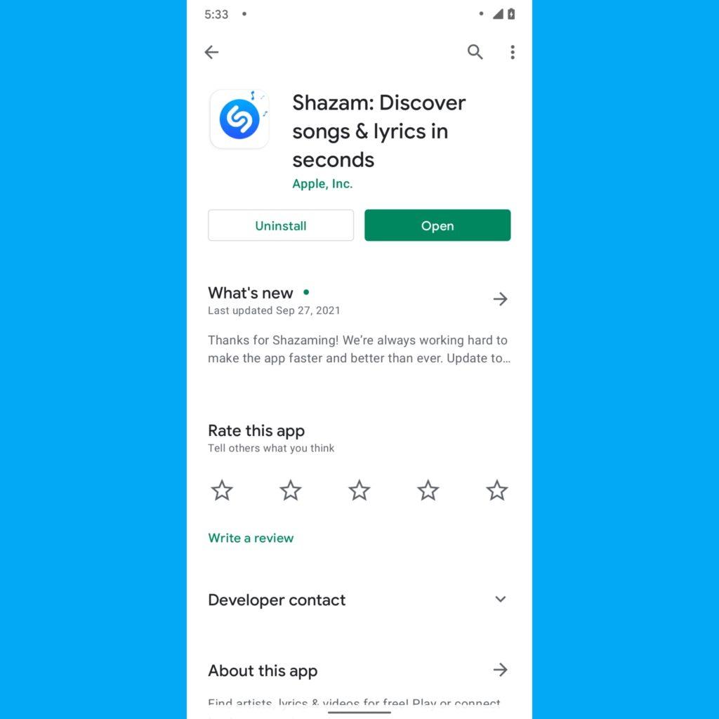 Shazam on Google Play Store